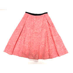 ERDEM Coral-Pink Flower-Patterned Cotton-Blend Pleated Flare Skirt Size: 6