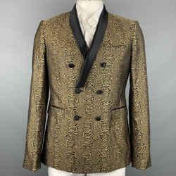 ROBERTO CAVALLI Size 44 Black & Gold Jacquard Silk Sport Coat