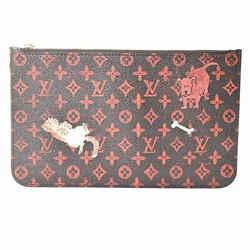 Auth Louis Vuitton Louis Vuitton Monogram Catgram Neverfull Pouch Brown Pvc