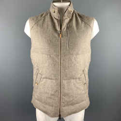 BRUNELLO CUCINELLI Size XL Oatmeal Quilted Wool / Cashmere Zip Up Vest