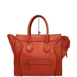 Celine Drummed Mini Luggage Calfskin Leather Tote Bag Red
