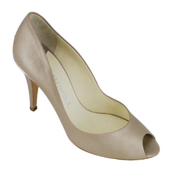 CHANEL<br>Beige Leather Peep-Toe Heels<br>Size: 9.5 | EU 39.5