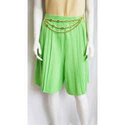 St. John Knits Collection 06 Small Skort City Shorts Lime Green Santana Pleated