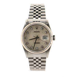 Oyster Perpetual Datejust Automatic Watch Stainless Steel and White Gold with Diamond Markers 36