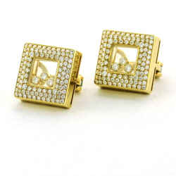 Chopard Happy Diamond Square Stud Earrings 18k Yellow Gold