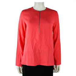 Stella Mccartney - Neon Peach Shirt Top - Half Zip Long Sleeve Top - Us 00 -  36
