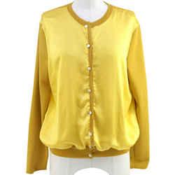 Ysl Yves Saint Laurent Yellow Silk Cardigan Wool Sweater Knit Dress Top Sz 40