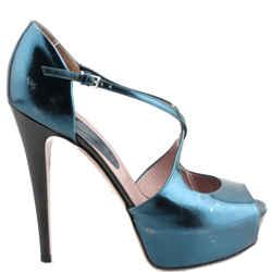 Gucci Lili  Metallic Leather Pumps Turquoise Size US-9.5 Authenticity Guaranteed