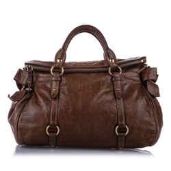 Vintage Authentic Miu Miu Brown Calf Leather Vitello Lux Bow Handbag Turkey