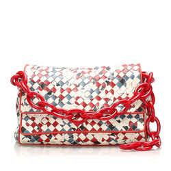 Vintage Authentic Bottega Veneta White Calf Leather Intrecciato Handbag Italy