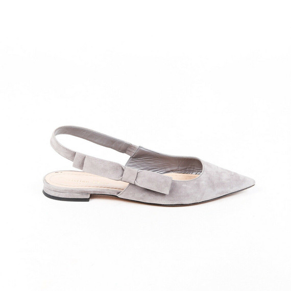 Christian Dior Flats Sweet-d Gray Suede Pointed Slingback Sz 37.5