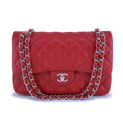 Chanel Red Caviar Jumbo Classic Double Flap Bag Shw