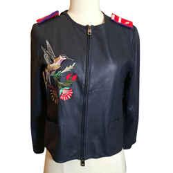 Emporio Armani Size 42 Blue Leather Bird Embroidered Jacket 2400-198-12119