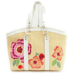 Christian Dior      White Red Pink Straw Floral Embroidered Tote Raffia 861149