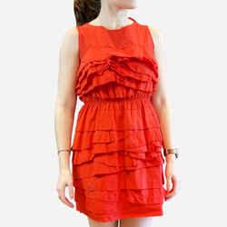 Red Ruffle Sleeveless Short Dress