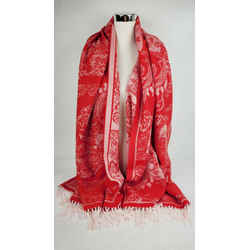 $395 Alexander Mcqueen Red Wool/cashmere Large Floral Skull Scarf 527942 6478