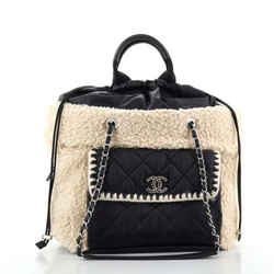Coco Neige Shopping Tote Shearling with Quilted Nylon and Calfskin Large