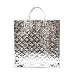 Louis Vuitton Sac Plat Silver Monogram Miroir Patent Leather Tote Bag-Rare