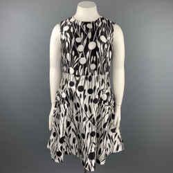 CAROLINA HERRERA Size 12 Black & White Print Silk / Cotton A-Line Dress
