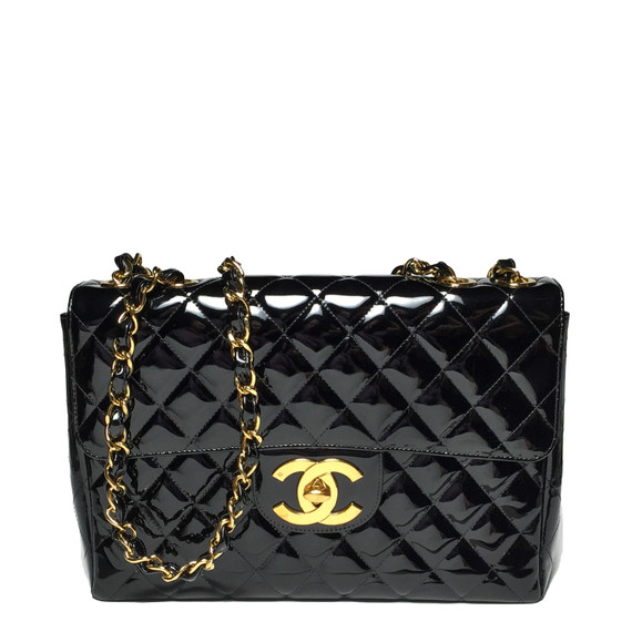 Chanel Black Diamond-quilted Patent Leather Jumbo Classic Bag