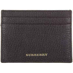 New Burberry Men's Brown Genuine Leather Check Credit Card Holder Wallet