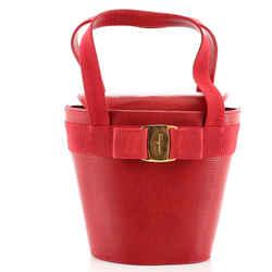 Vara Bow Top Handle Bucket Bag Lizard Embossed Leather Mini