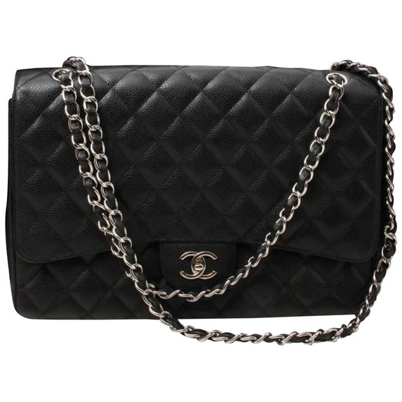 Chanel Black Quilted Caviar Maxi Classic Flap Silver Chain Bag 861879