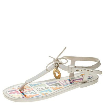 Fendi White Jelly Logo Charm Sunny Flat