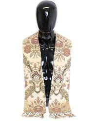 Dolce & Gabbana Scarf Men's Beige Silk Necktie Baroque Men's Pattern