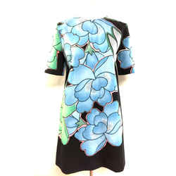 MARNI Black/Multicolor Large Floral-Print Cotton/Linen Short Sleeve Dress