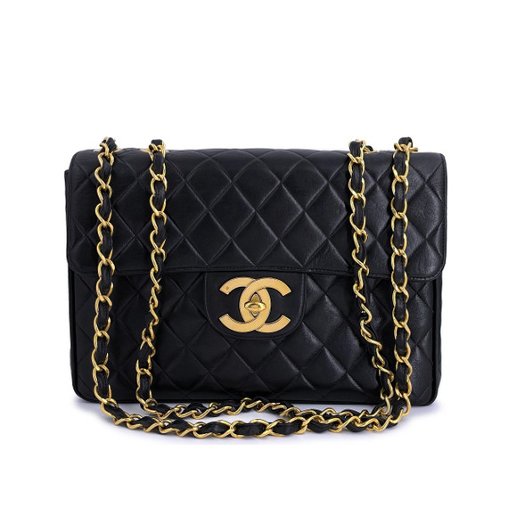 Chanel Vintage Black Jumbo Classic Flap Bag 24k GHW