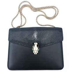 "BVLGARI Serpenti Black Leather and Stingray Shoulder Bag 8""L x 2""W x 6""H"