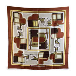 Hermes Vintage Brown Silk Scarf Les Coupes De La Perierre 1970