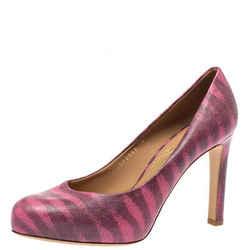 Salvatore Ferragamo Pink Animal Print Leather Pumps Size 37