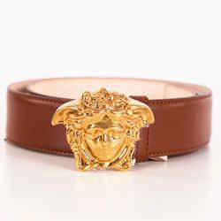 sz 95/38 NEW $525 VERSACE Dark Tan Leather GOLD MEDUSA BUCKLE Men's Unisex BELT