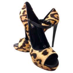 Roberto Cavalli Brown Leopard Print and Black Suede Pumps Size: US 11 Regular (M, B) Item #: 20287420
