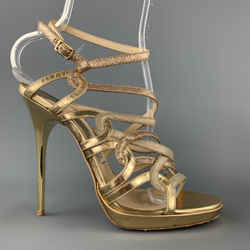 Jimmy Choo Size 9 Gold Sparkle Leather Strappy Metal Heel Sandals