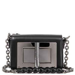 Tom Ford Classic Natalia Day Bag Black Leather Palladium Lock Crossbody Handbag