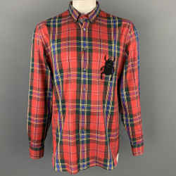 ALEXANDER MCQUEEN Size XL Multi-Color Tartan Cotton Beetle Patch Button Down Long Sleeve Shirt