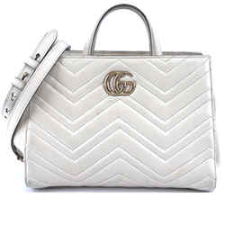 Gucci Marmont Tote Gg Matelasse Off-white Leather