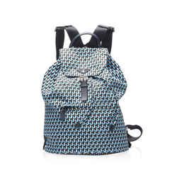 Vintage Authentic Prada Blue Tessuto Stampato Drawstring Backpack Italy