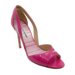 Manolo Blahnik Pink Patent Leather Peep Toe Pumps