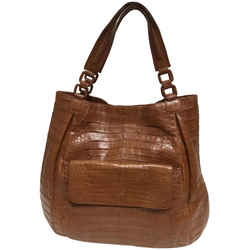 """Nancy Gonzalez Cognac Crocodile Skin Leather Hobo Bag 14""""L x 17""""W x 4""""H Item #: 25779359"""