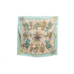 Authentic Hermes Silk Scarf Les Fetes du Roi Soleil Aquamarine Duchene Vintage 90cm Carre