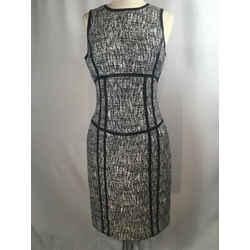 Michael Kors Black & White Wool Leather Trim Pencil Dress 1955-7-13019