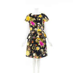 Etro Dress Floral Print Cotton Peplum SZ 46