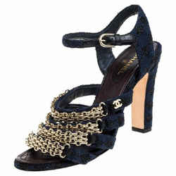 Chanel Blue Reissue Tweed Sandals With Gold Chains Sz 9 It 39.5 Cc Logo!