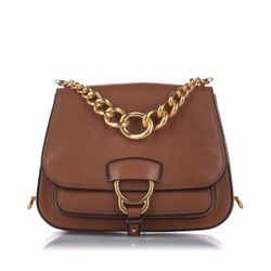 Brown Miu Miu Madras Dahlia Leather Crossbody Bag