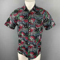 MARC by MARC JACOBS Size S Black & Multi-Color Print Cotton Short Sleeve Shirt