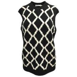 Dior Argyle Sleeveless Cashmere Black / Ivory Sweater